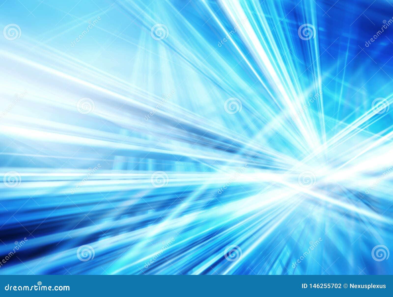 Fondo astratto con le linee bianche luminose intersecate diritte e del blu