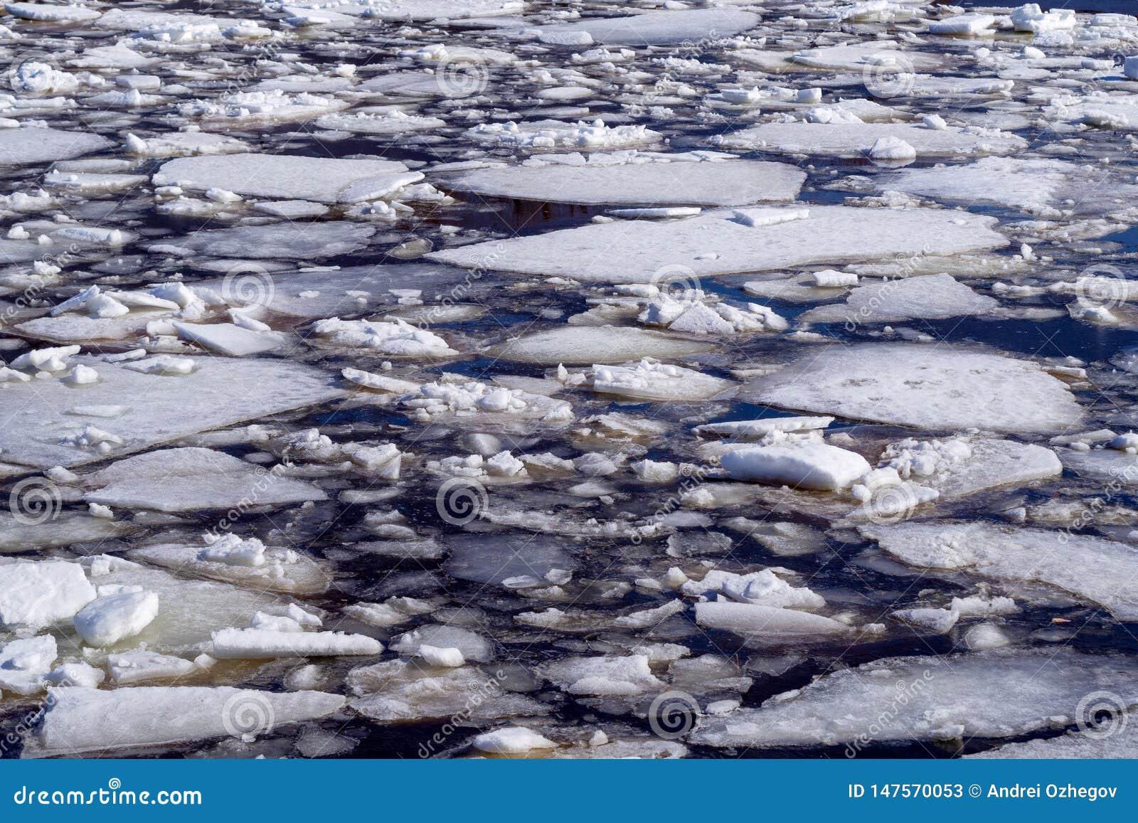 Fondo astratto del ghiaccio di spostamento su acqua