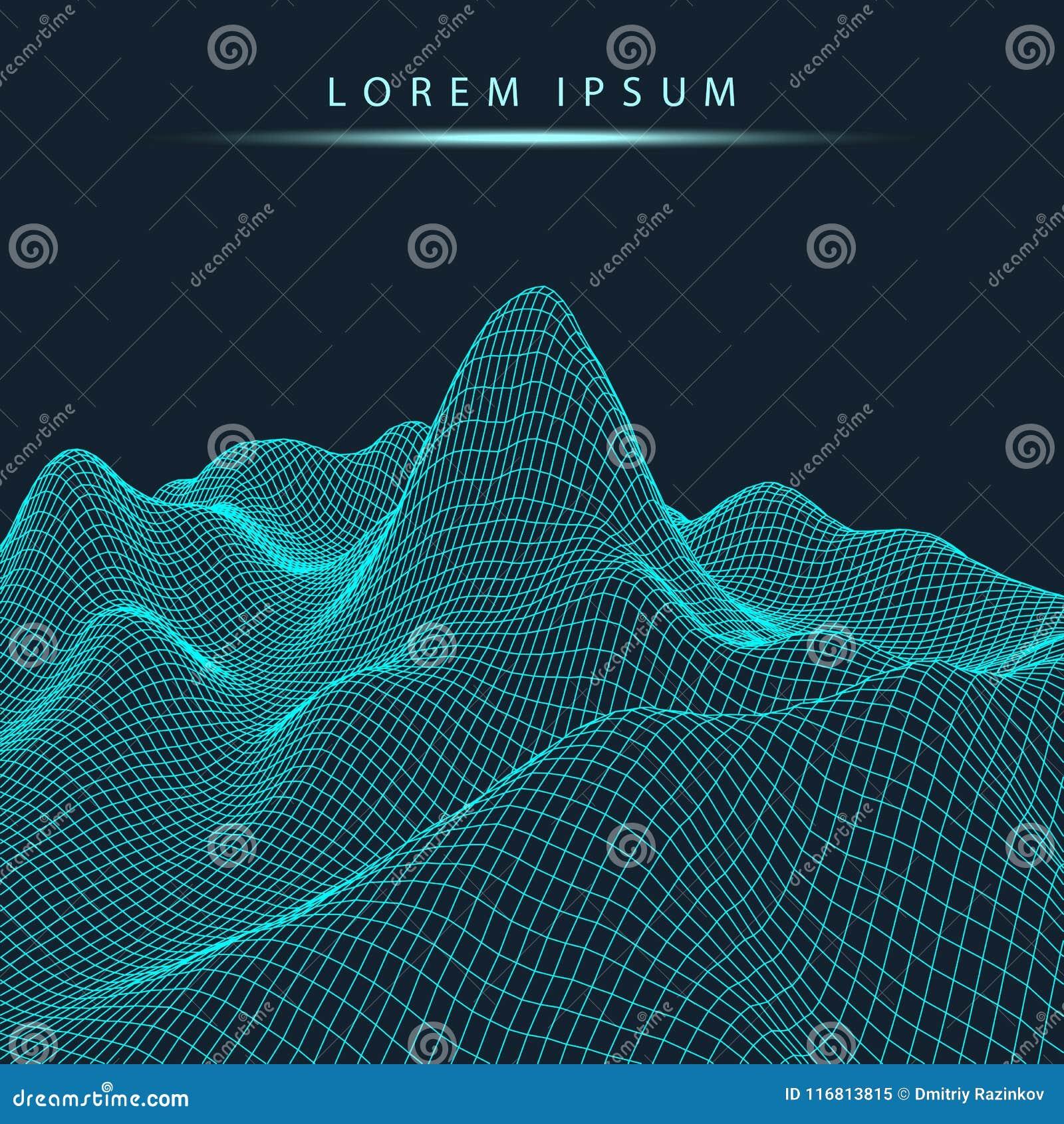 Fondo astratto del paesaggio di vettore Griglia del Cyberspace illustrazione di tecnologia 3d