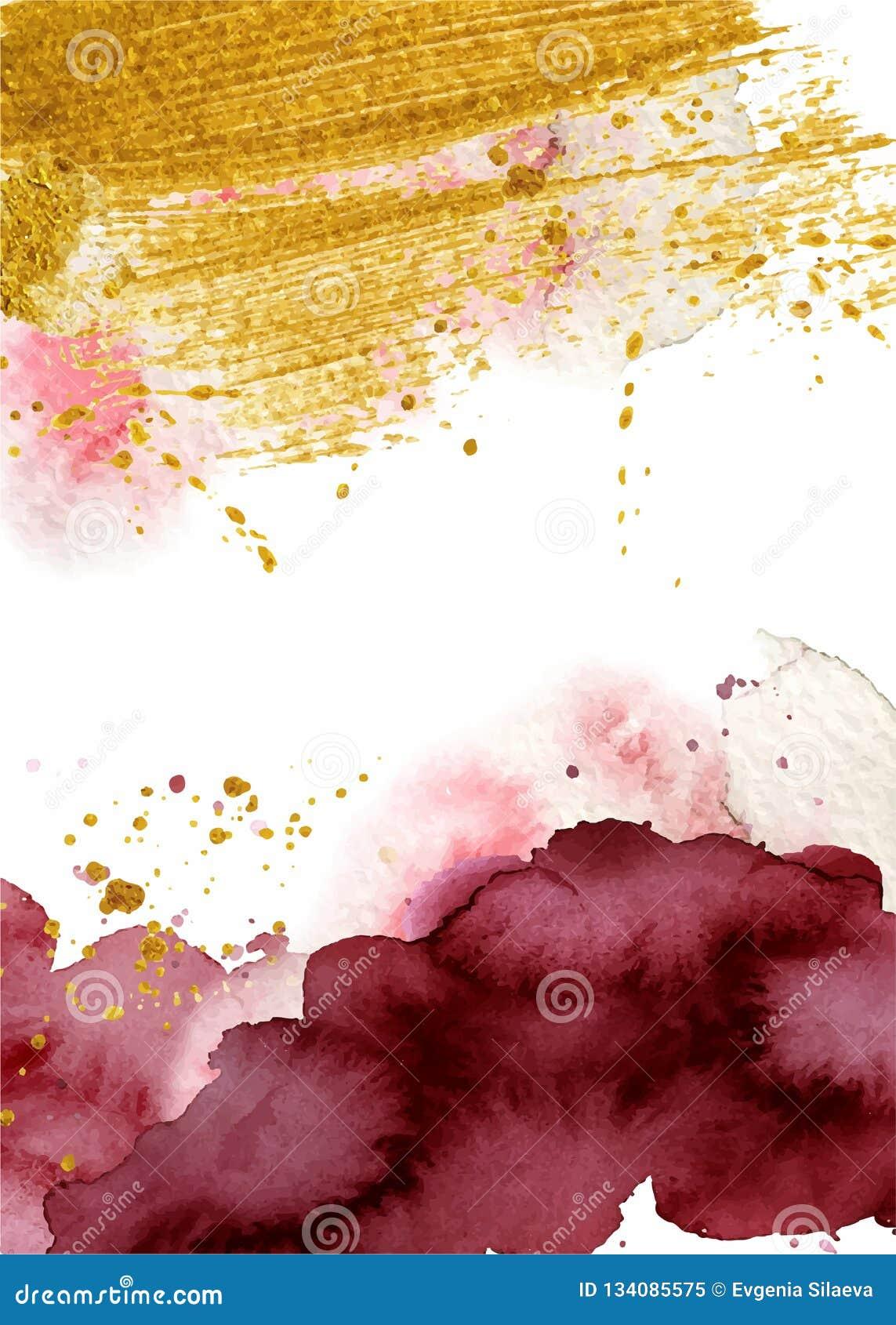 Fondo astratto dell acquerello, Borgogna acquerella disegnata a mano e struttura dell oro