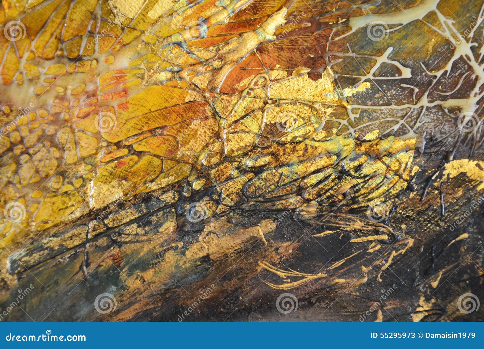 Fondo astratto della pittura dell oro dell olio