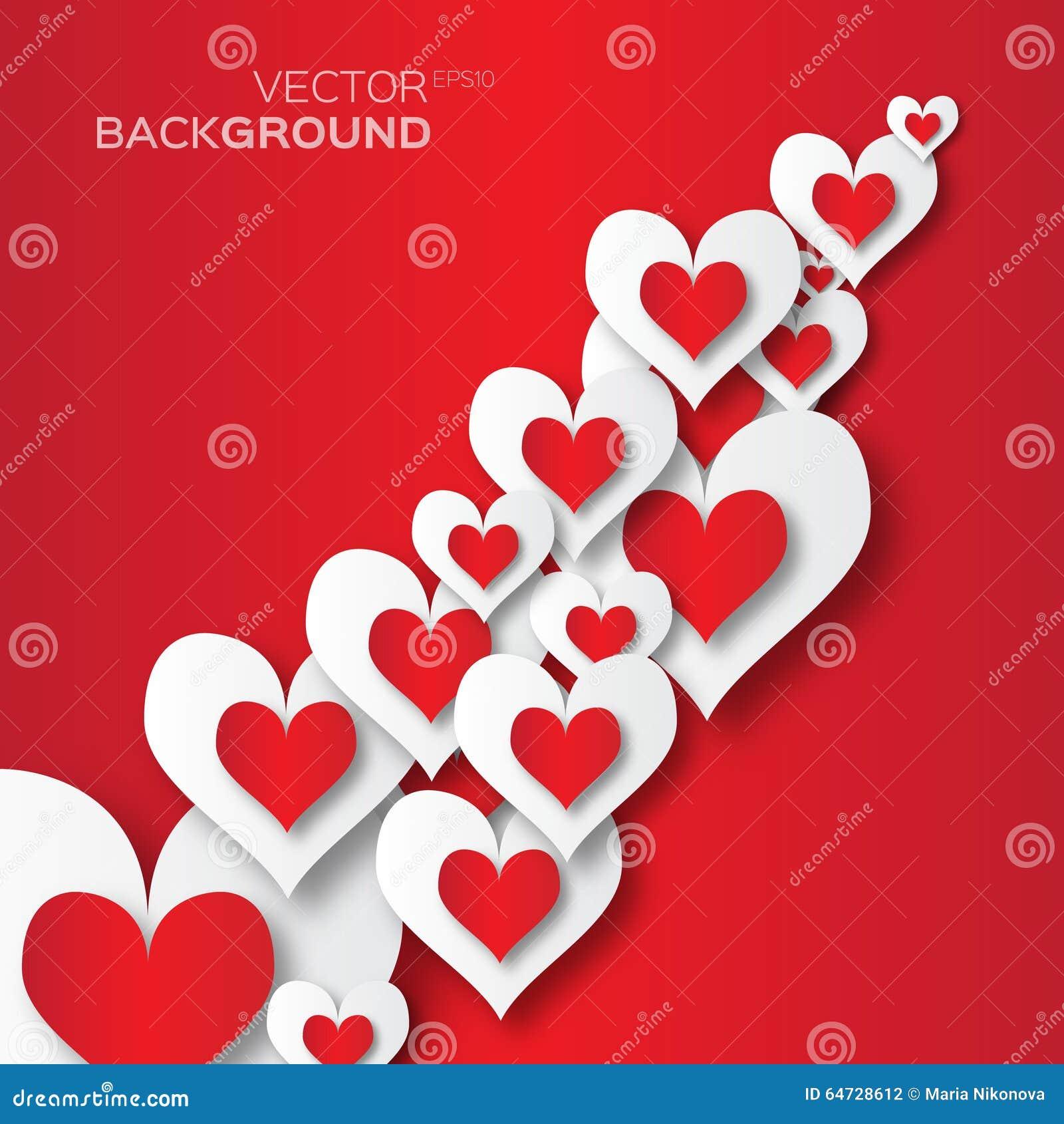 Fondo astratto di applique di San Valentino con i cuori del Libro rosso e Bianco del taglio