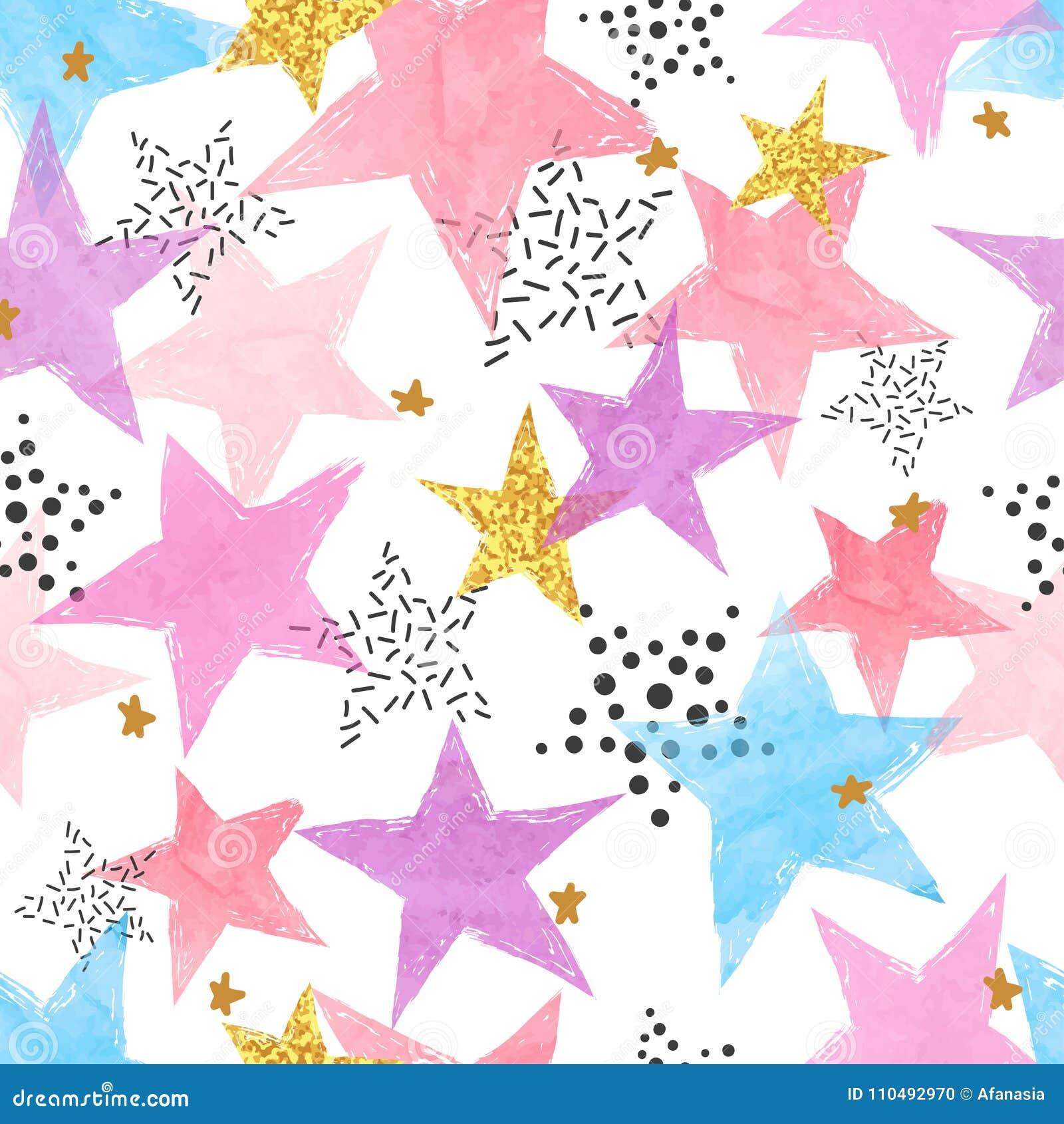 Fondo astratto di celebrazione con le stelle dell acquerello