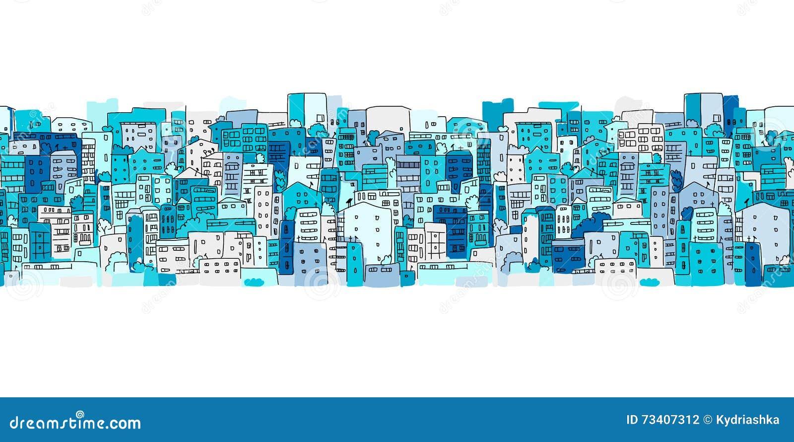 Fondo astratto di paesaggio urbano, modello senza cuciture per la vostra progettazione