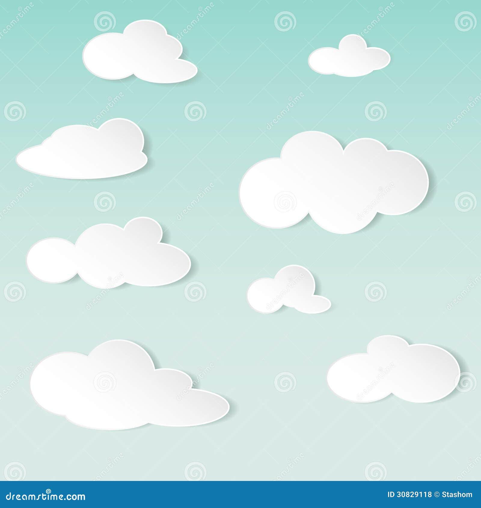 Fondo astratto di vettore con le nuvole del Libro Bianco
