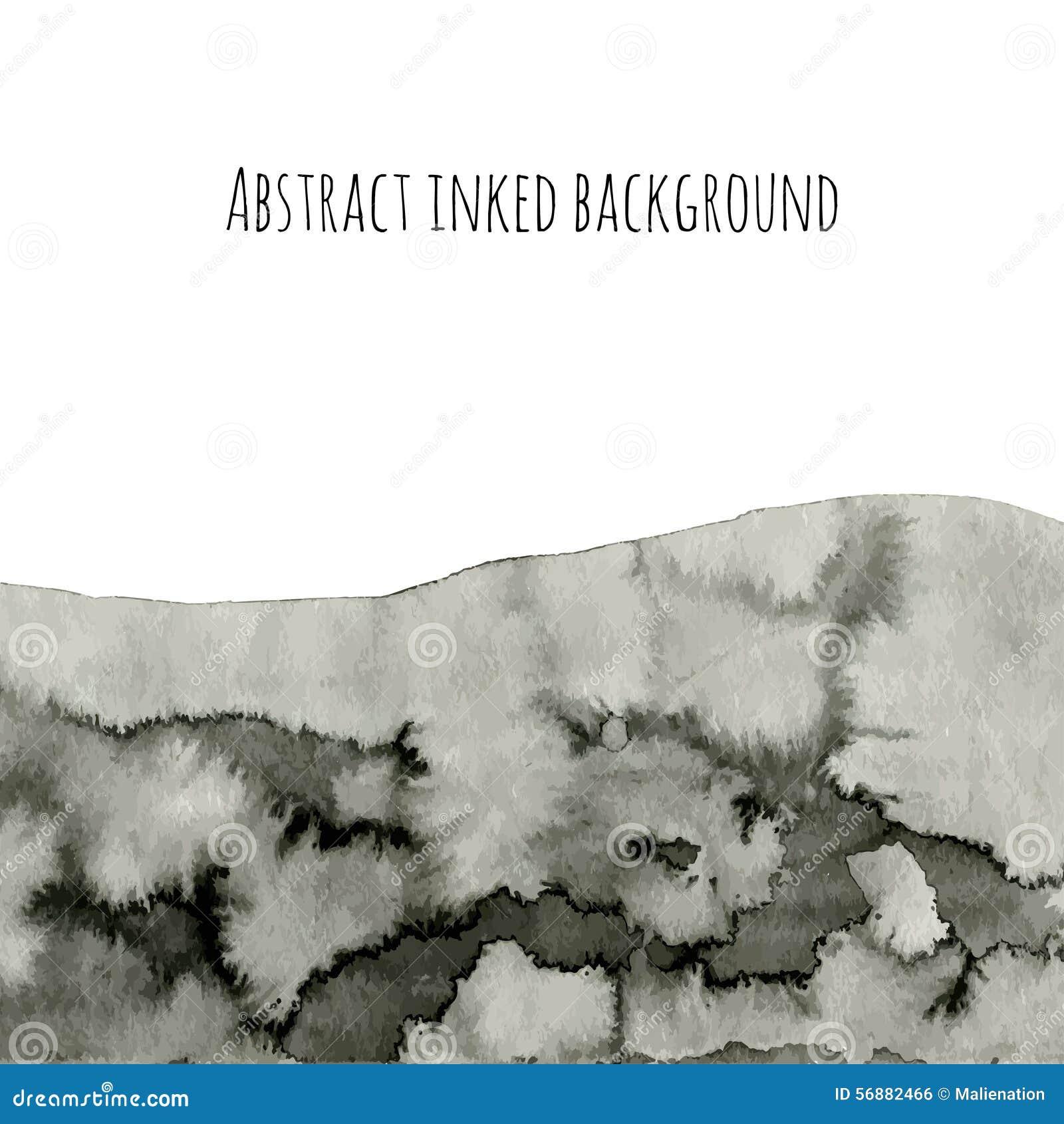 Fondo astratto di vettore dell inchiostro su bianco Struttura grigia dell acquerello per la vostra progettazione Terra nera