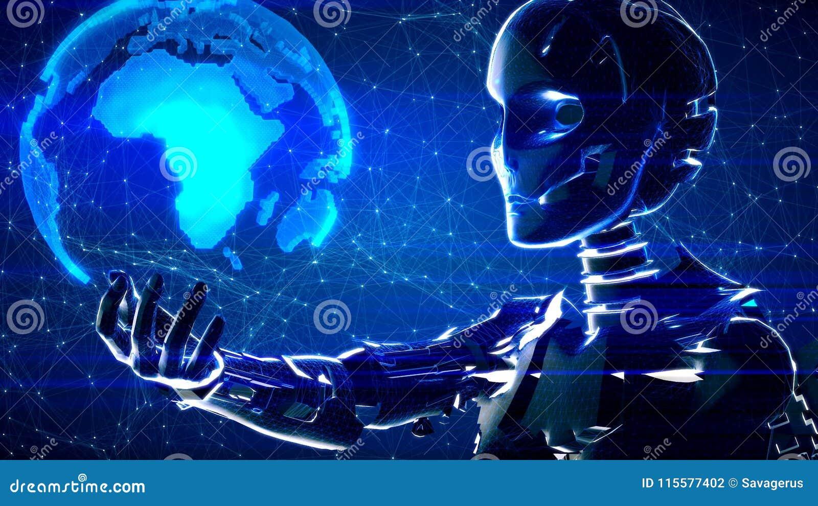Fondo astratto futuristico di tecnologia con il robot e la terra