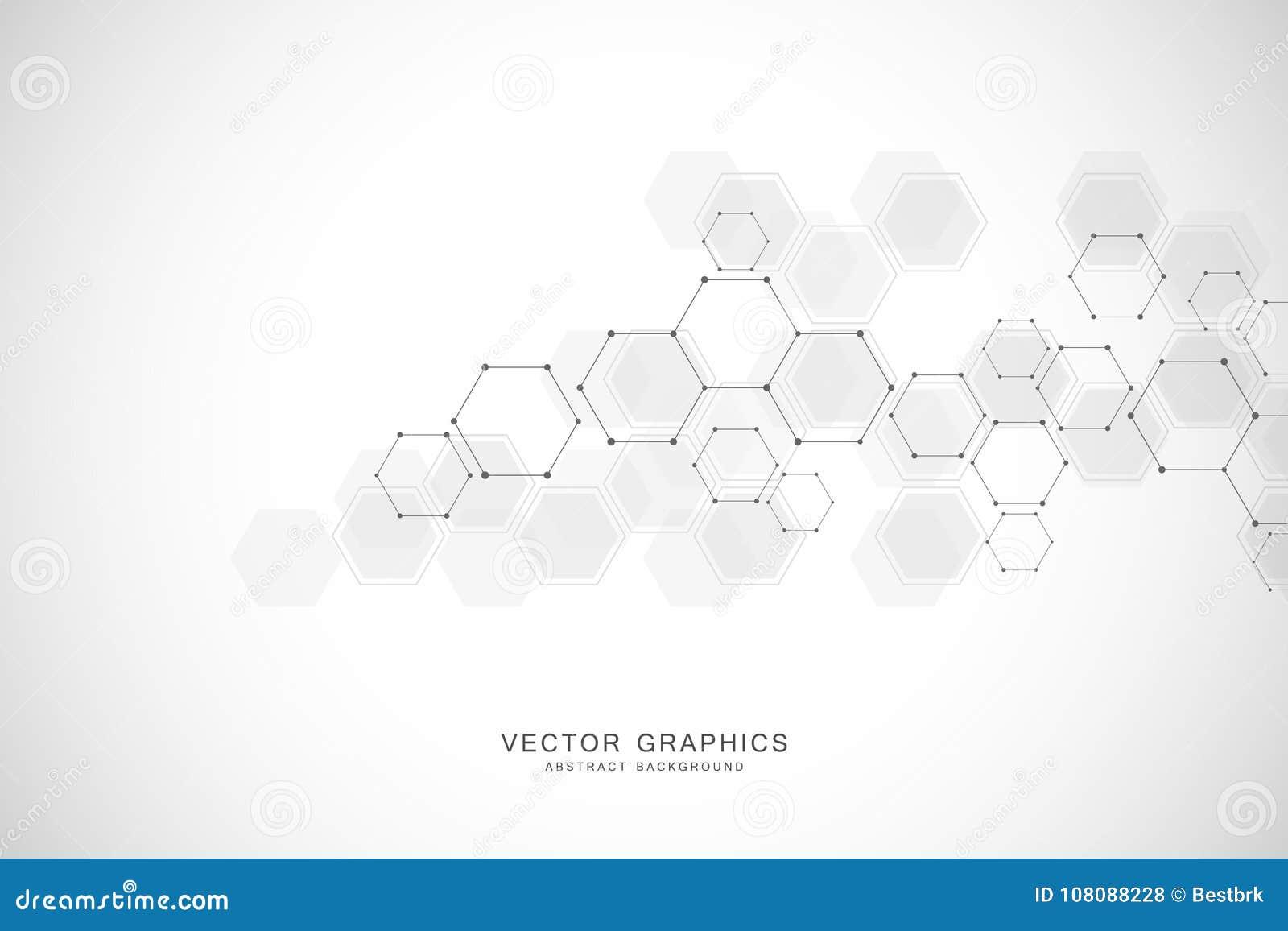 Fondo astratto geometrico con gli esagoni Molecola e comunicazione della struttura Scienza, tecnologia e medico