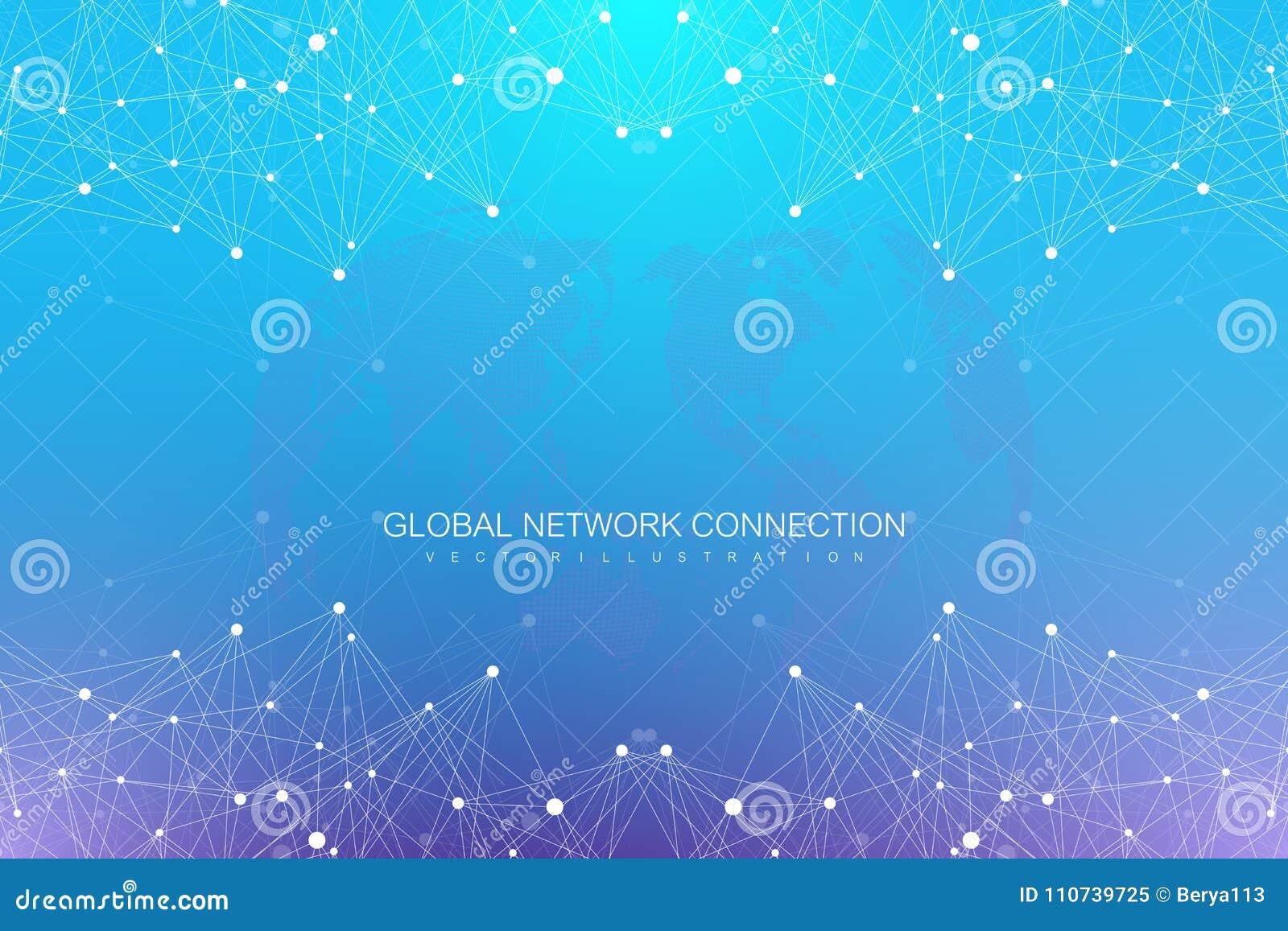 Fondo astratto geometrico con le linee ed i punti collegati Grande composizione in dati Molecola e fondo di comunicazione