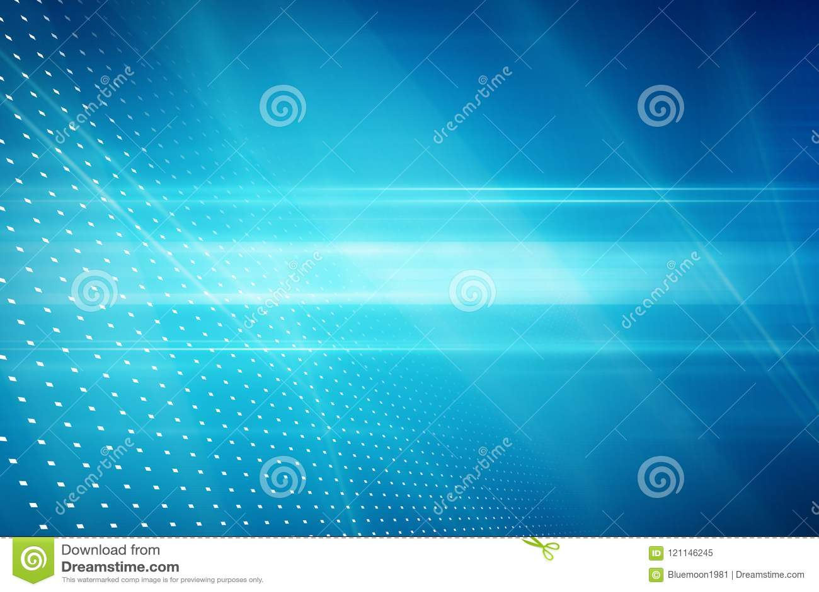 Fondo astratto grafico di tecnologia, raggi luminosi sulla parte posteriore del blu