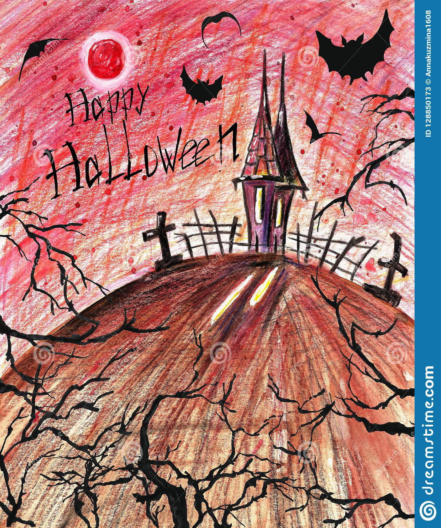 Fondo asustadizo de Halloween Casa fantasmagórica oscura con los palos y los árboles negros