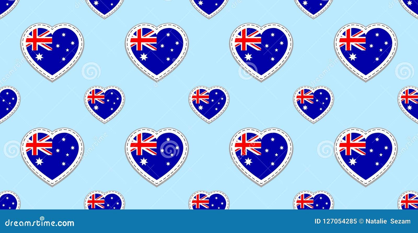 Fondo australiano del vector de la bandera Modelo inconsútil de la bandera nacional de Australia Escrituras de la etiqueta brilla