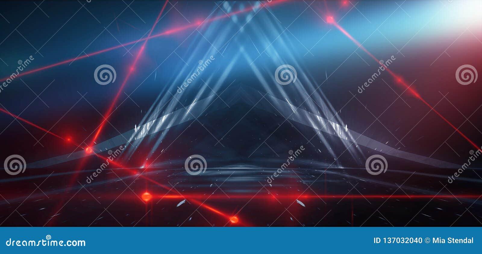 Fondo azul abstracto con la luz de neón, túnel, pasillo, rayos rojos del laser, humo
