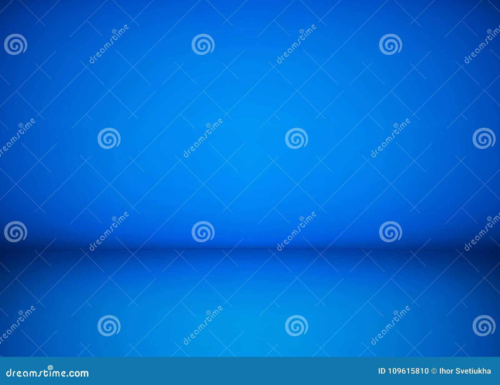 Fondo azul abstracto del taller del estudio Plantilla del interior, del piso y de la pared del sitio Espacio del taller de la fot