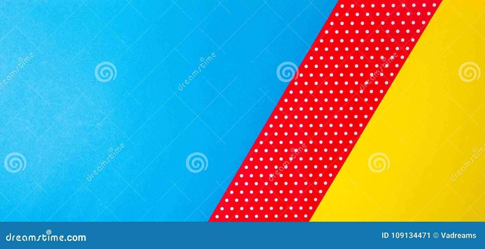 Fondo Fondos Abstractos Rojo Y Amarillo: Fondo Azul, Amarillo Y Rojo Geométrico Abstracto De Papel