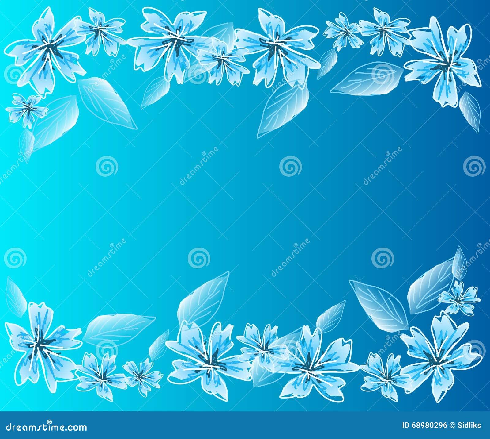 Fondo azul claro con las flores