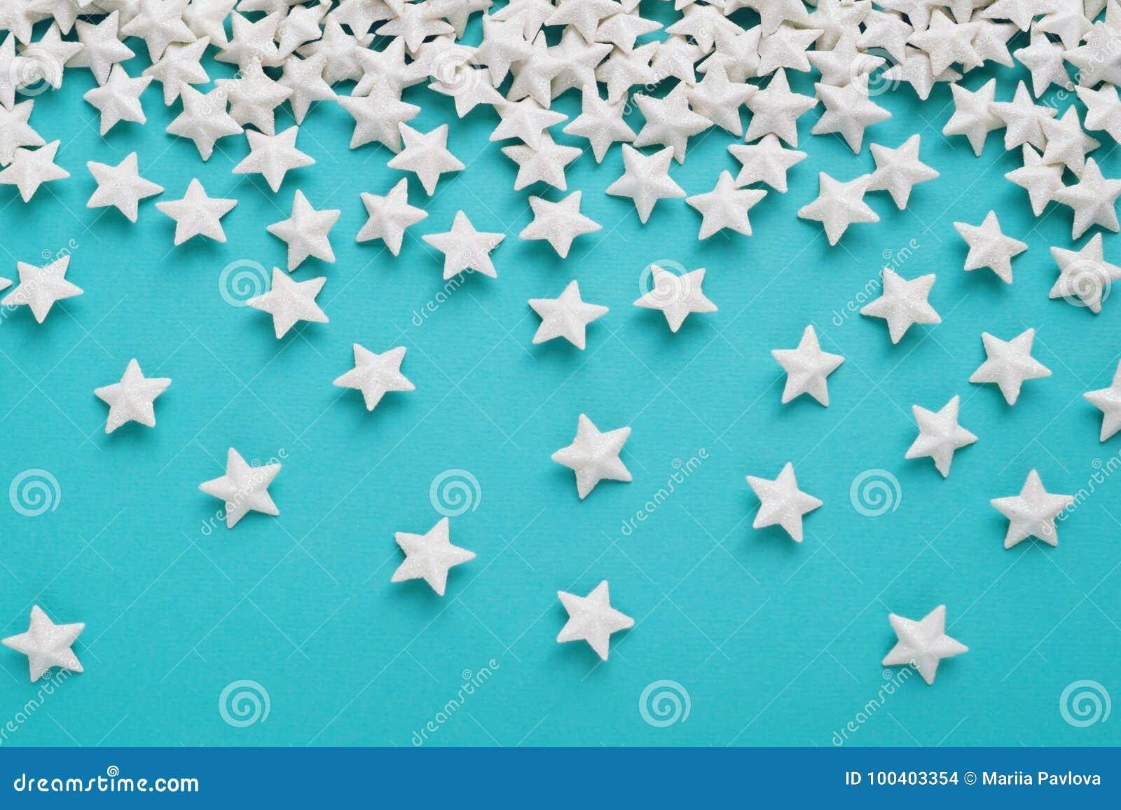 Fondo Azul Con Las Estrellas Blancas Foto De Archivo