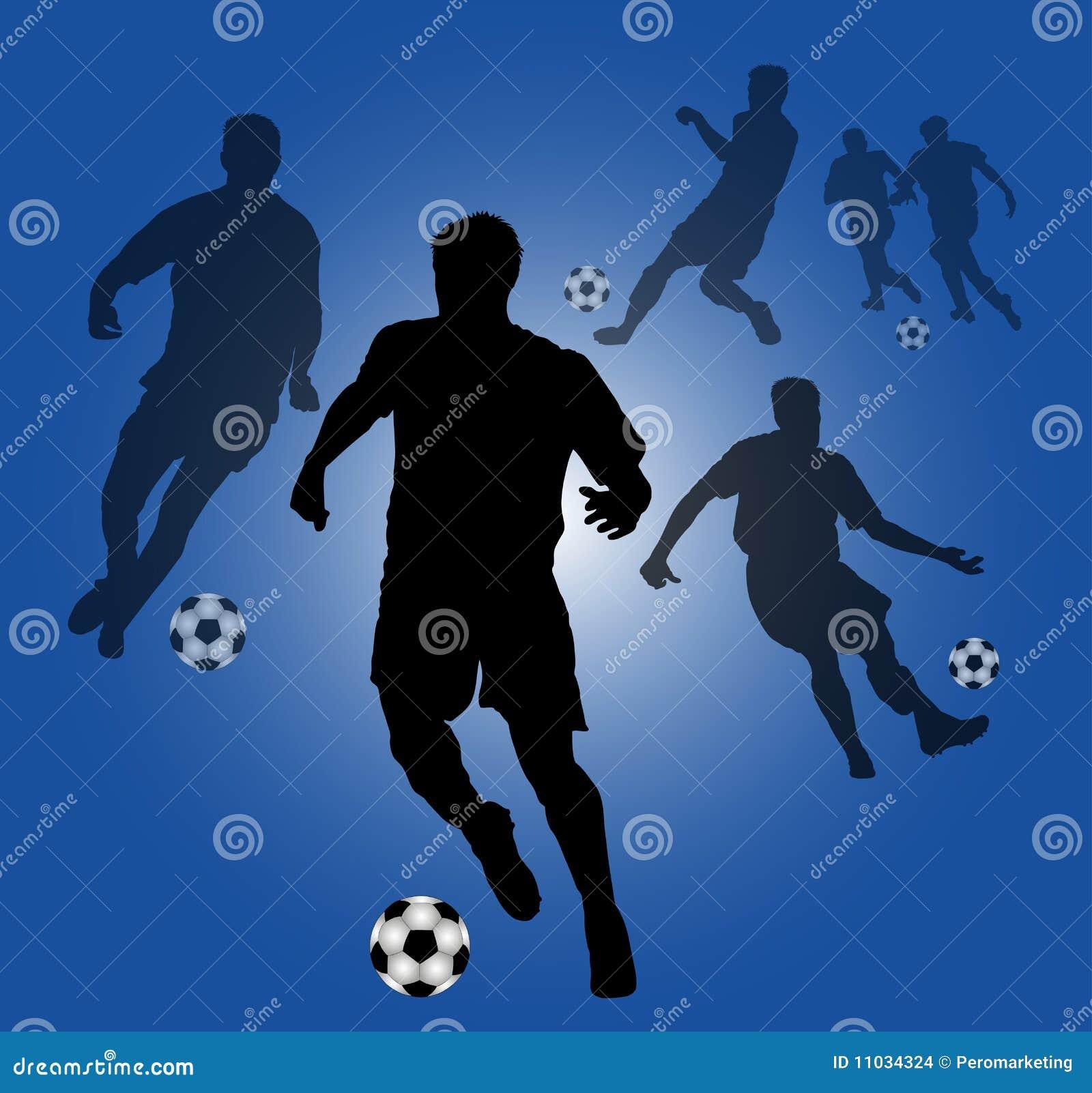 Fondo Azul Con Las Siluetas De Los Jugadores De Fútbol Ilustración ... 4b1989e192de2