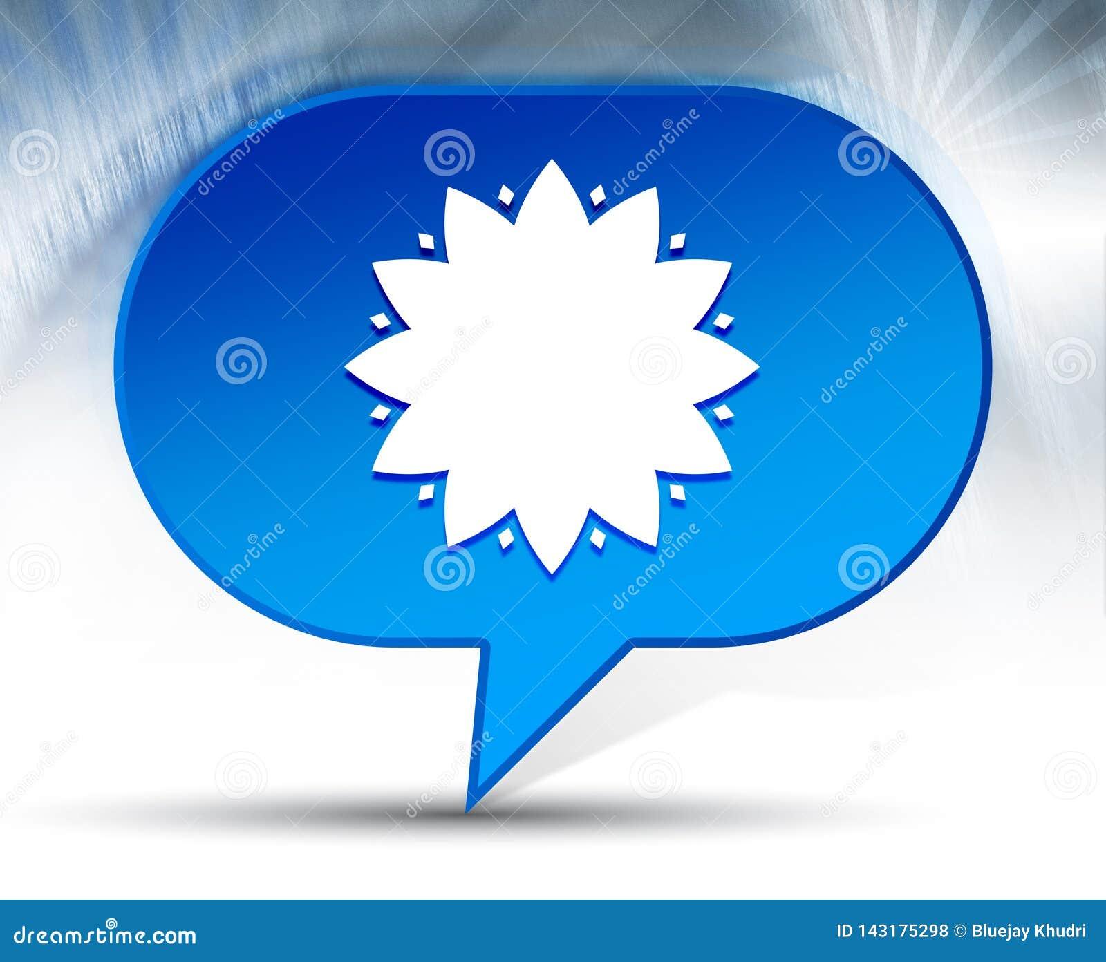 Fondo azul de la burbuja del icono frondoso de la flor