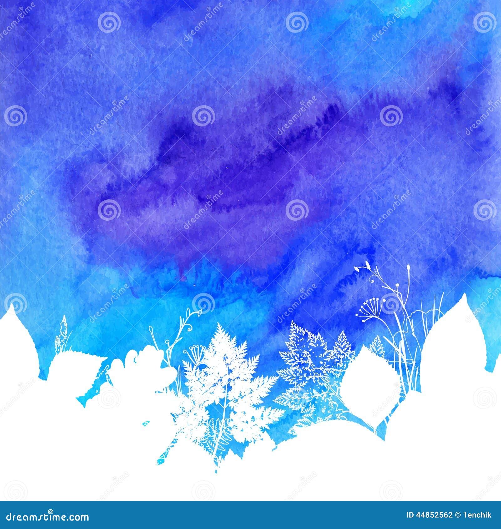 Fondo azul de la primavera de la acuarela con blanco