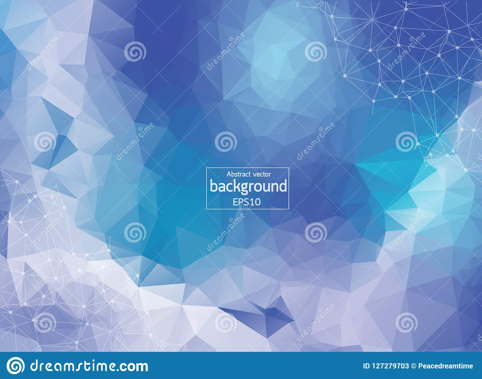 Fondo azul del espacio poligonal abstracto con los puntos y las líneas de conexión | ? futurista del ¹ de Illustrationà del vecto