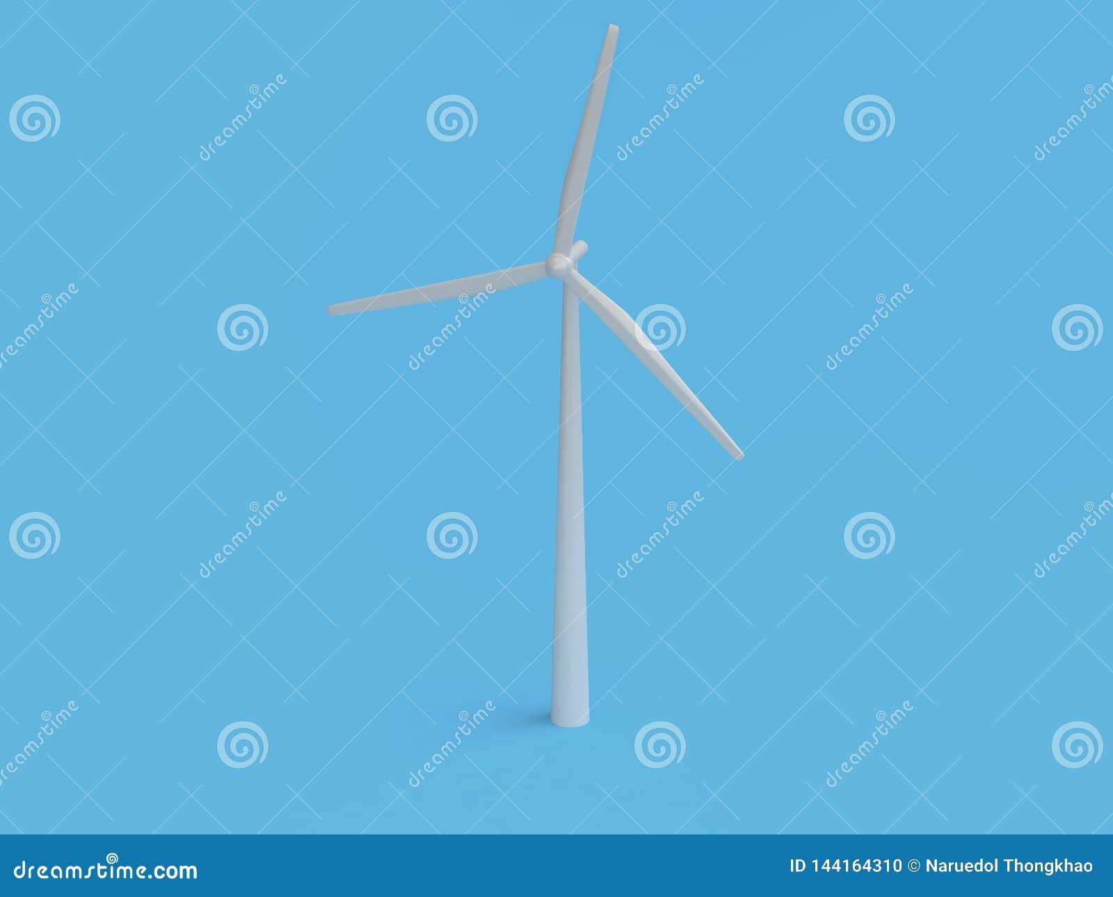 Fondo azul mínimo abstracto 3d de la turbina de viento del estilo de la historieta rendir, tierra de la reserva del ambiente de l