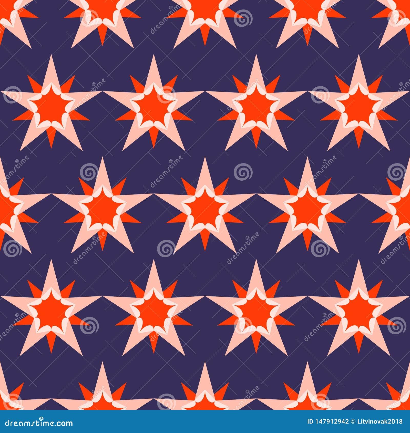 Fondo azul marino hermoso con las estrellas rojas Modelo incons?til del d?a de fiesta Ornamento para el papel de envoltorio para