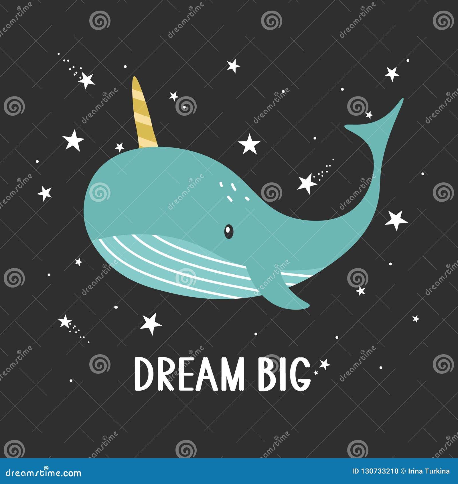 Fondo, ballena y texto Grande ideal