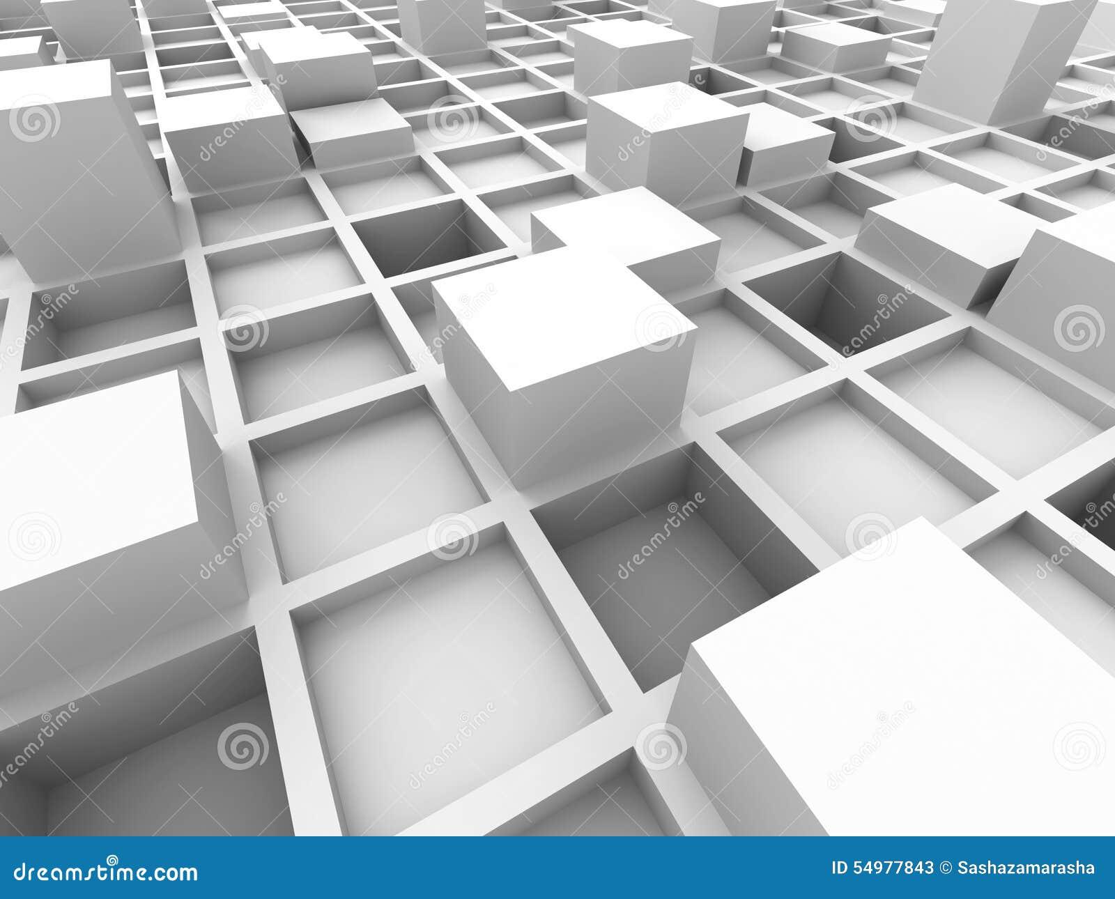 Fondo bianco astratto della struttura a blocchi del cubo