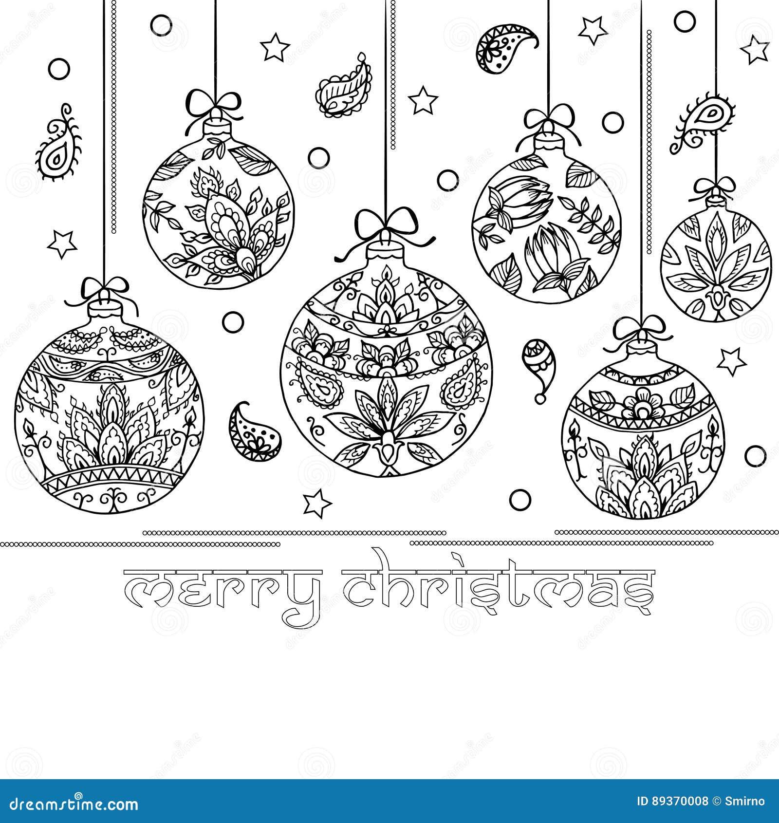 Immagini Natale In Bianco E Nero.Fondo In Bianco E Nero Con Le Palle Di Natale Indiano Di Paisley Illustrazione Vettoriale Illustrazione Di Decorazione Illustrazione 89370008