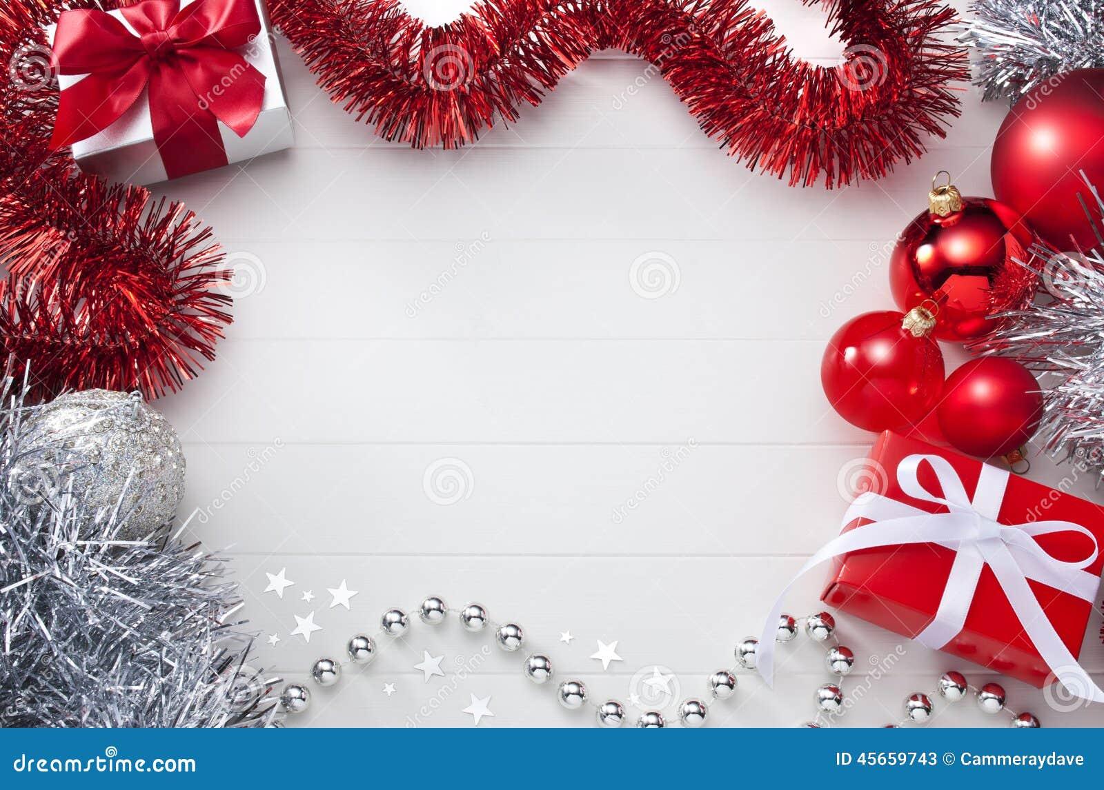 Fondo bianco e rosso di Natale