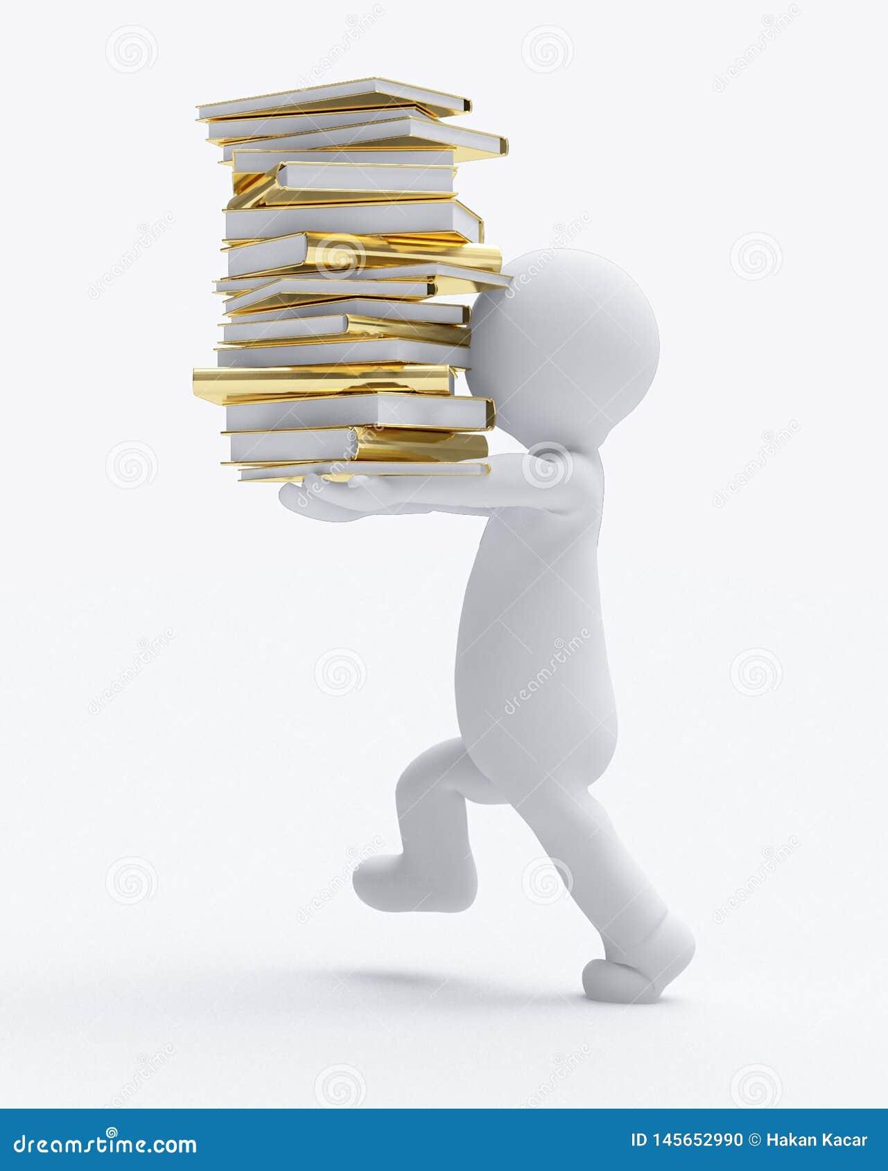 Fondo bianco isolato immagine di trasporto dei libri d della piccola gente di D