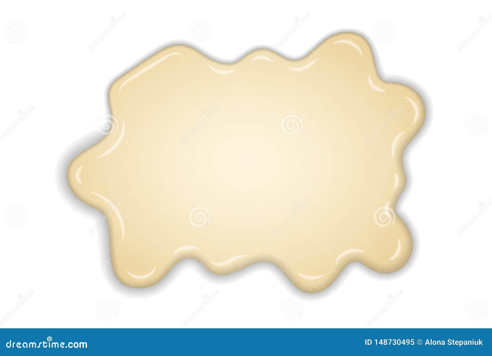 Fondo blanco aislado chocolate cremoso blanco del derretimiento Postre caliente del chocolate con leche de la vainilla Salpique e