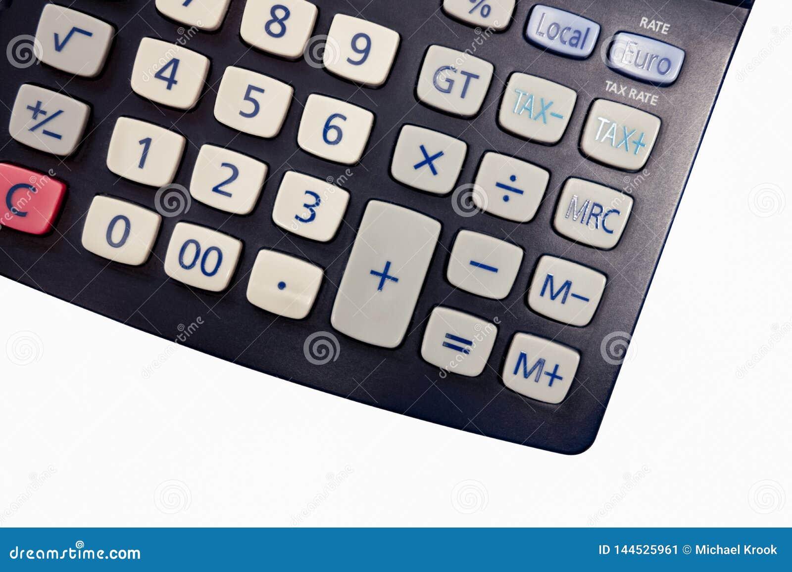Fondo blanco aislado de la calculadora