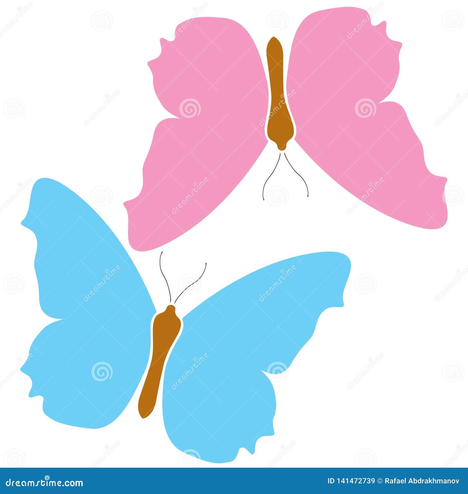 Fondo blanco aislado logotipo azul del icono del rosa de la mariposa Símbolo hermoso colorido de las alas del color Naturaleza tr