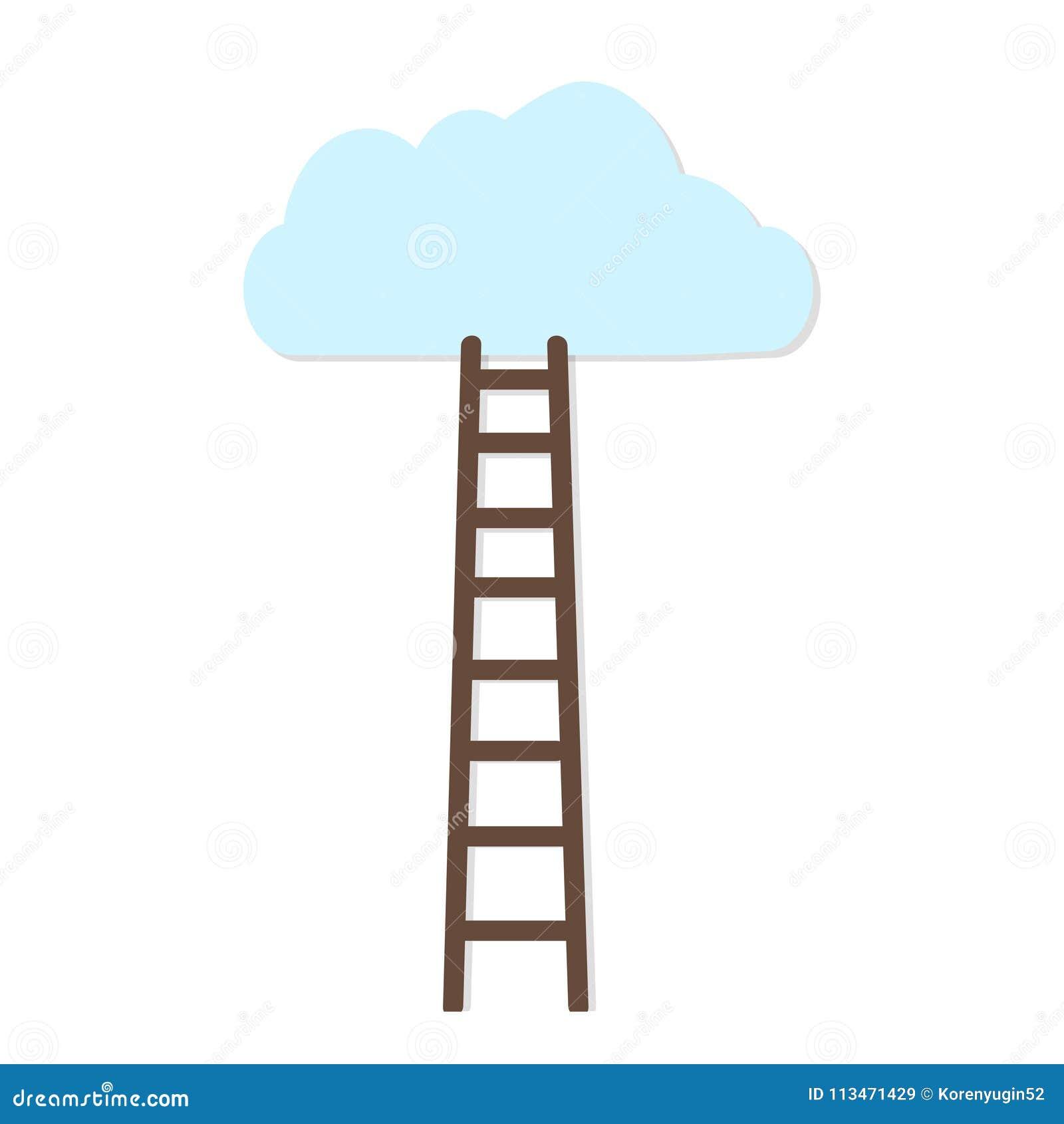 Fondo blanco con la escalera marrón para nublarse el ejemplo del vector