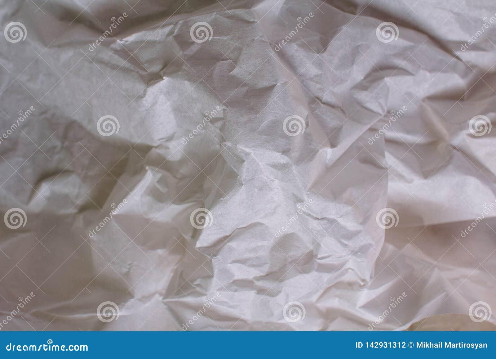 Fondo blanco de la textura Papel arrugado