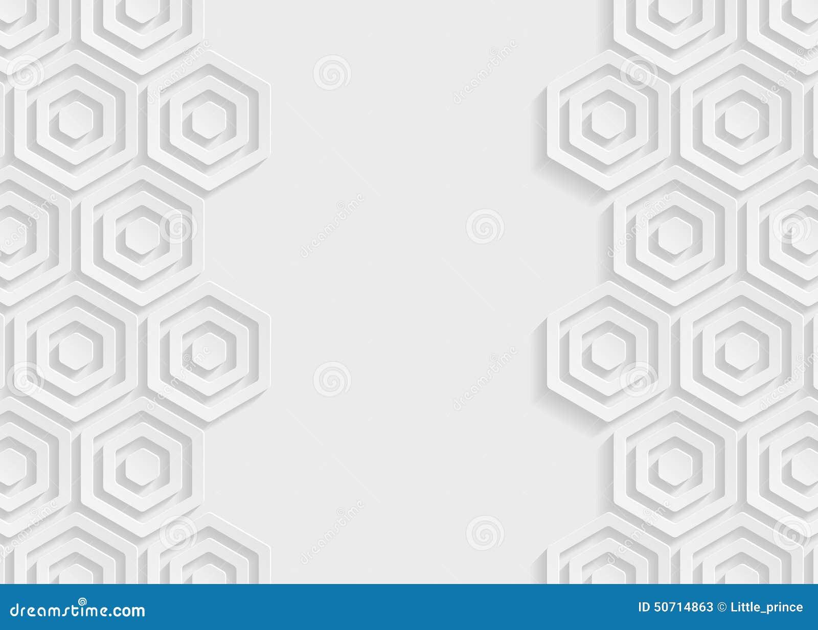 Fondo blanco del extracto del papel del hexágono