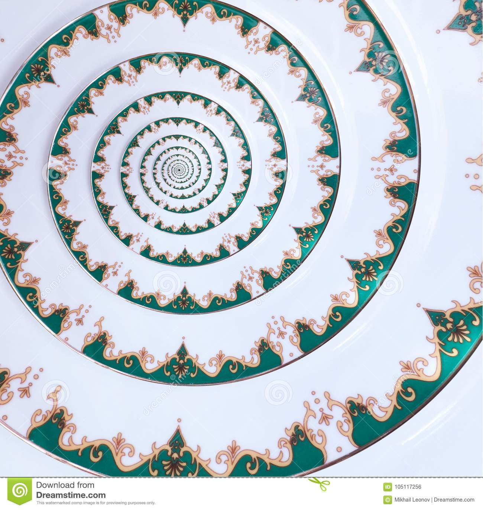 Fondo blanco del modelo del fractal del extracto del efecto del espiral del plato del ornamento del color del oro verde Fractal b