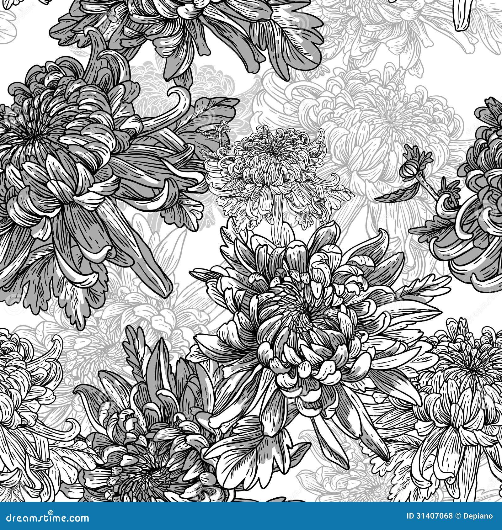 Fondo Blanco Y Negro Con Los Crisantemos Ilustración del Vector ...