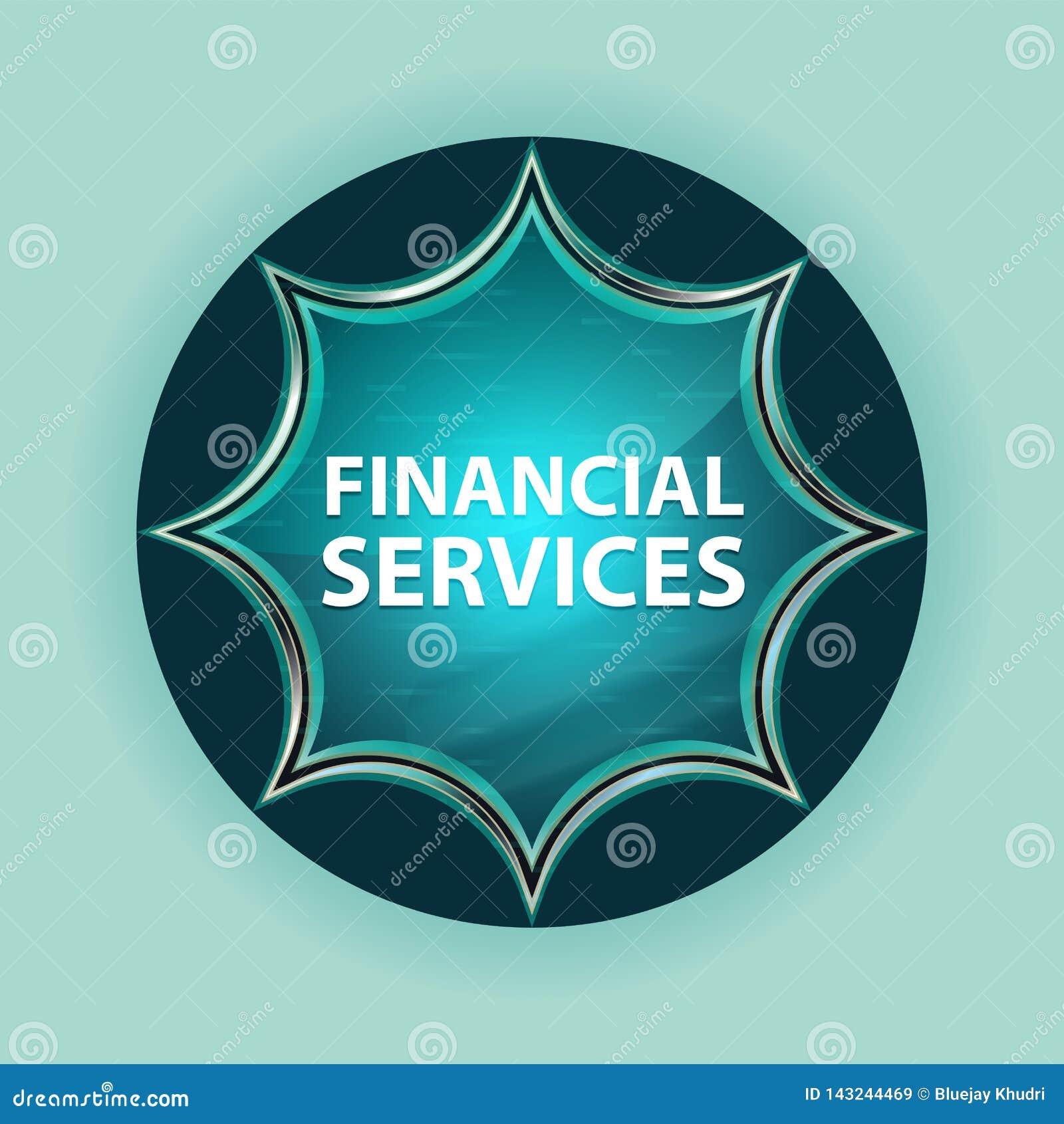 Fondo blu degli azzurri del bottone dello sprazzo di sole vetroso magico di servizi finanziari