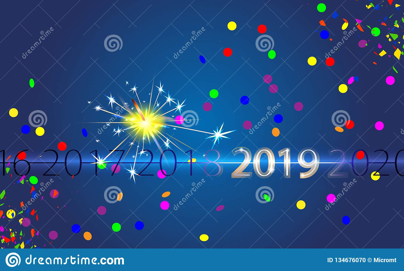 Fondo blu del buon anno con l iscrizione d argento 2019 ed il fuoco del Bengala Effetto della luce di vettore della stella filant