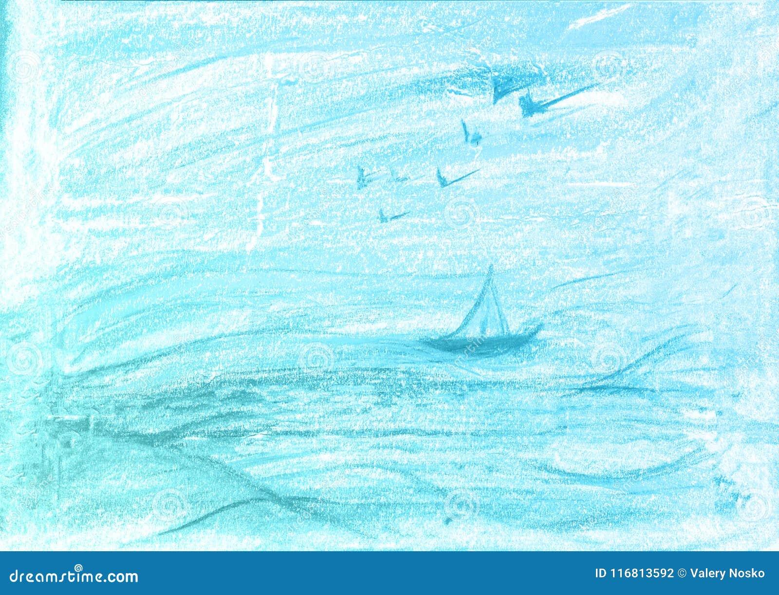 Fondo blu della pittura dell acquerello, segnante schizzo con lettere dell album per ritagli