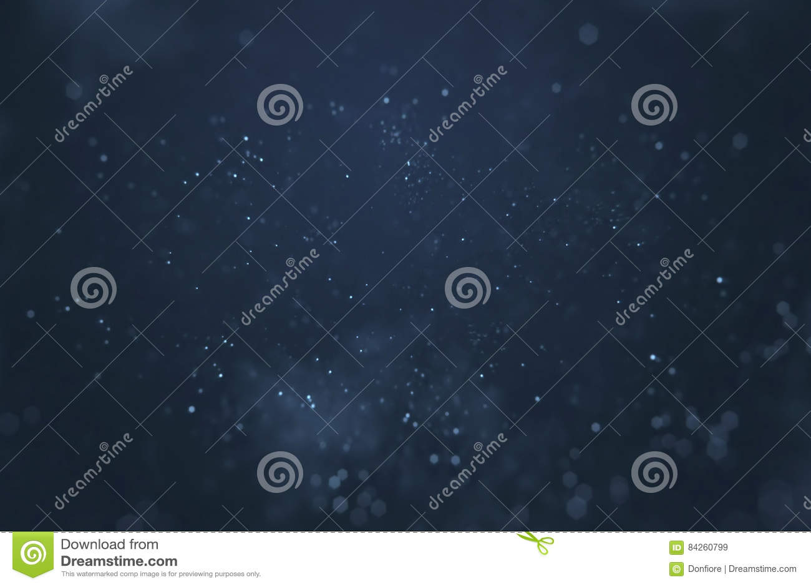 Fondo blu di pendenza astratta con bokeh e particelle che scorrono, sovrapposizione festiva di festa di eventi pronta