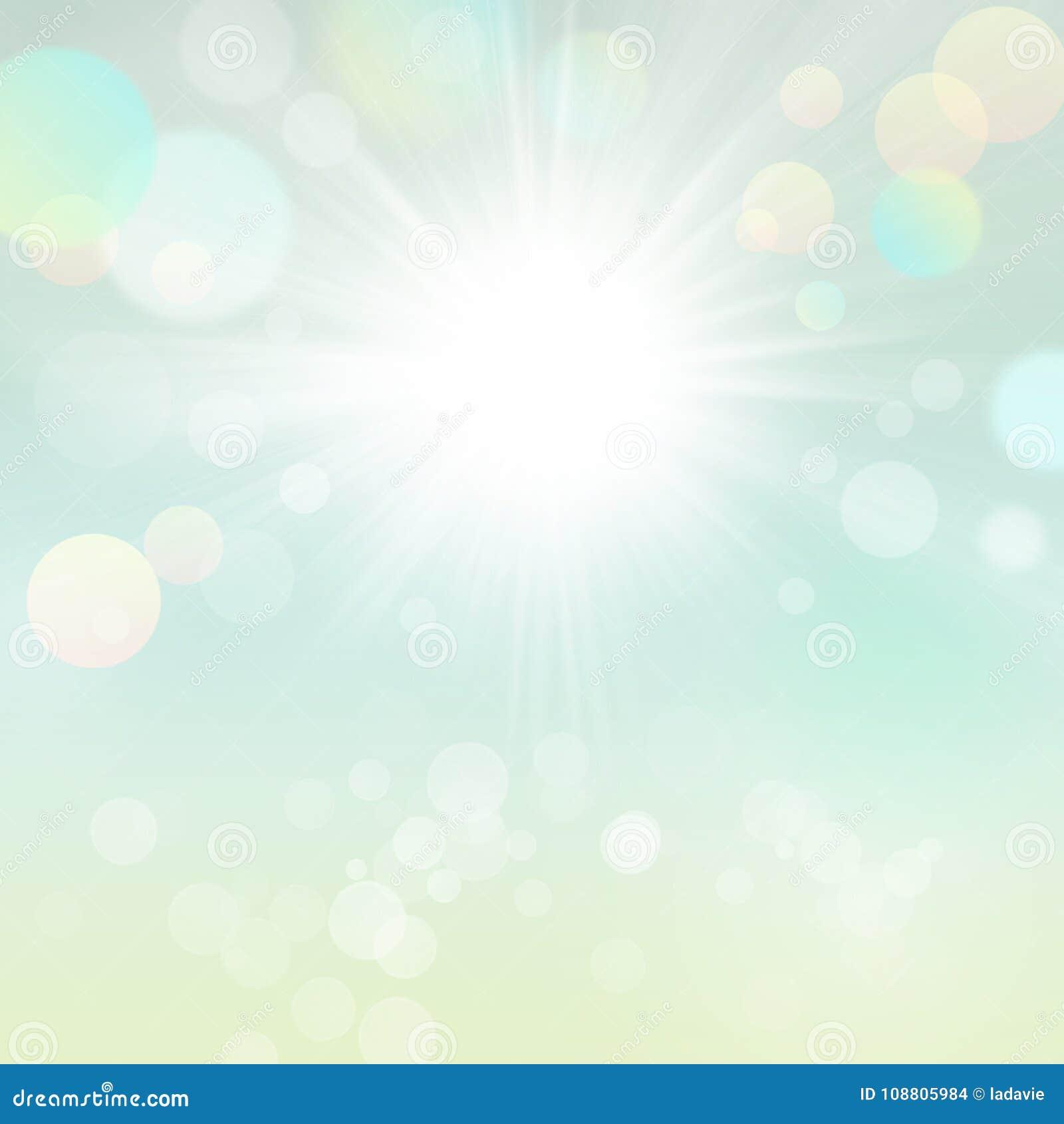 Fondo borroso hermoso de Bokeh del verde de la naturaleza de Sun del verano de la primavera con Sun