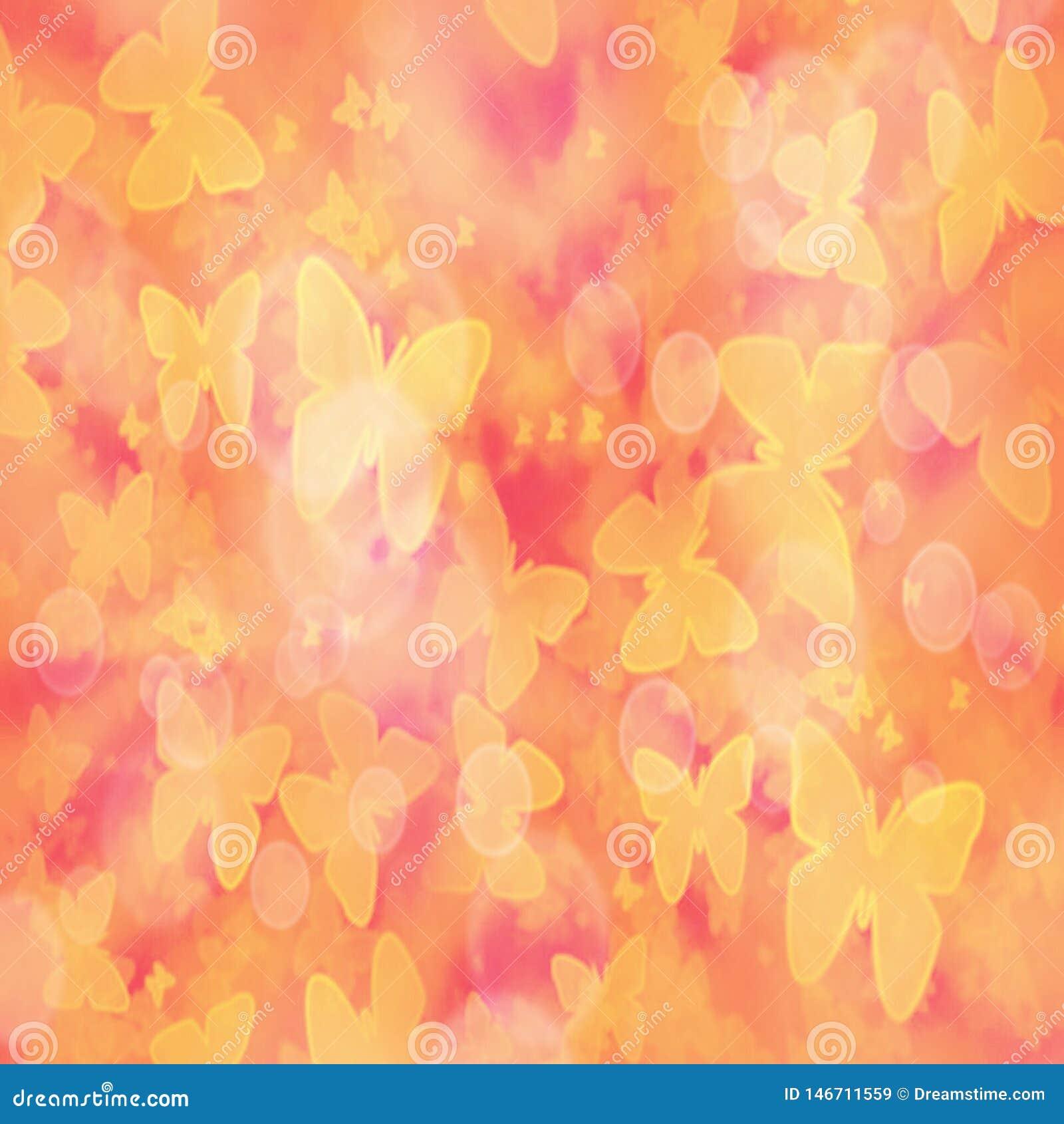 Fondo borroso pendiente abstracta con las mariposas amarillas y el efecto del bokeh