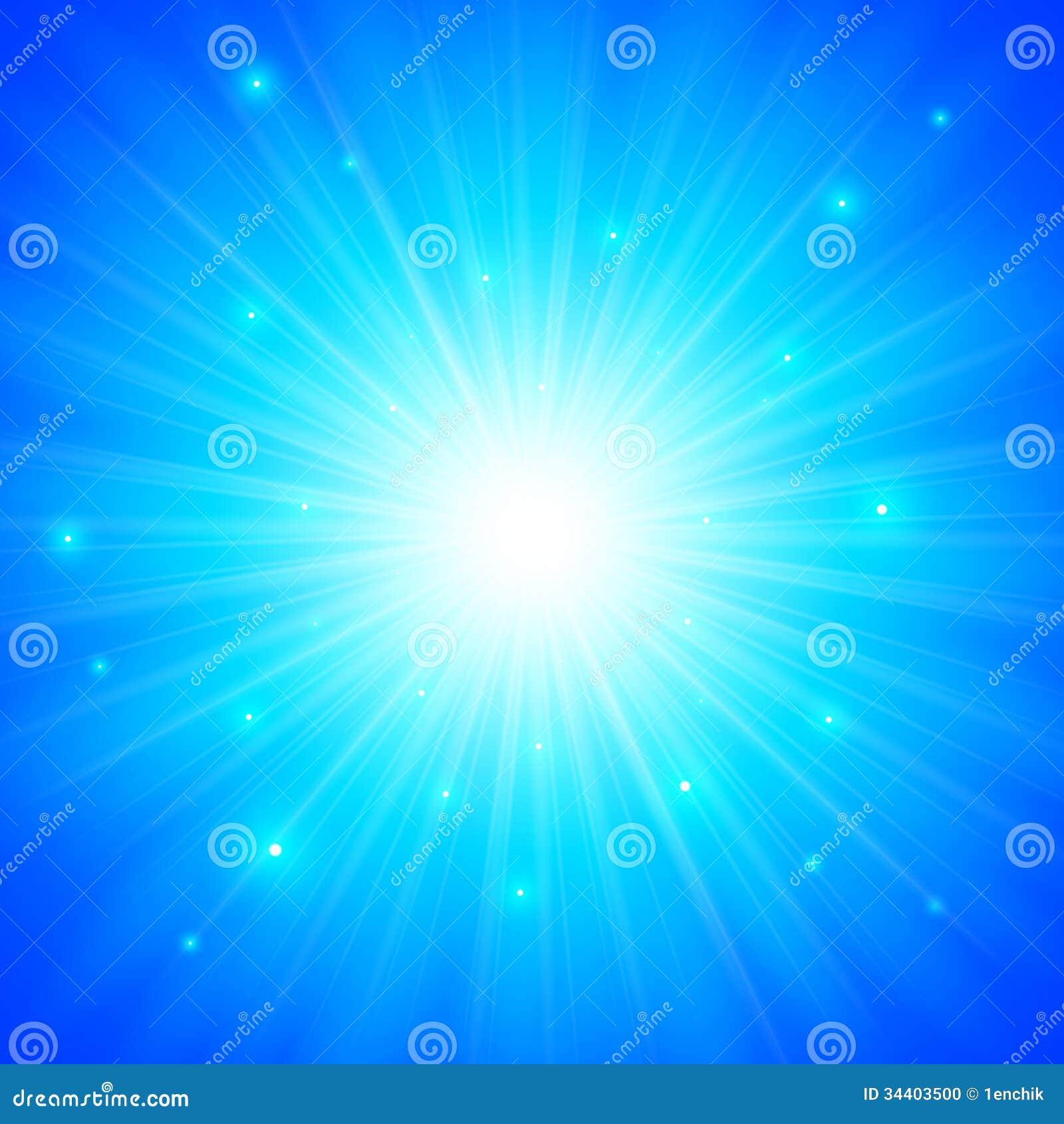 Fondo brillante blu del sole di vettore