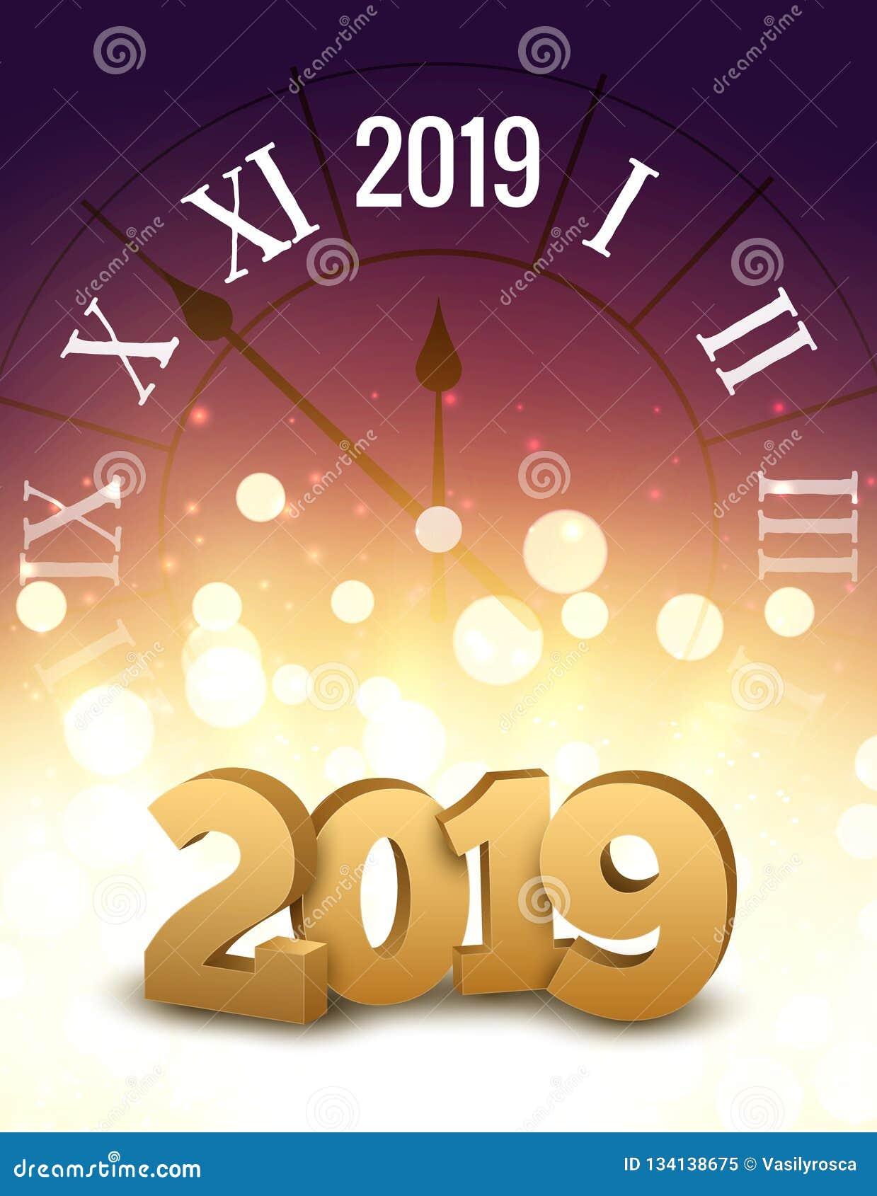 Fondo Brillante Del Año Nuevo 2019 Con El Reloj Cartel 2019