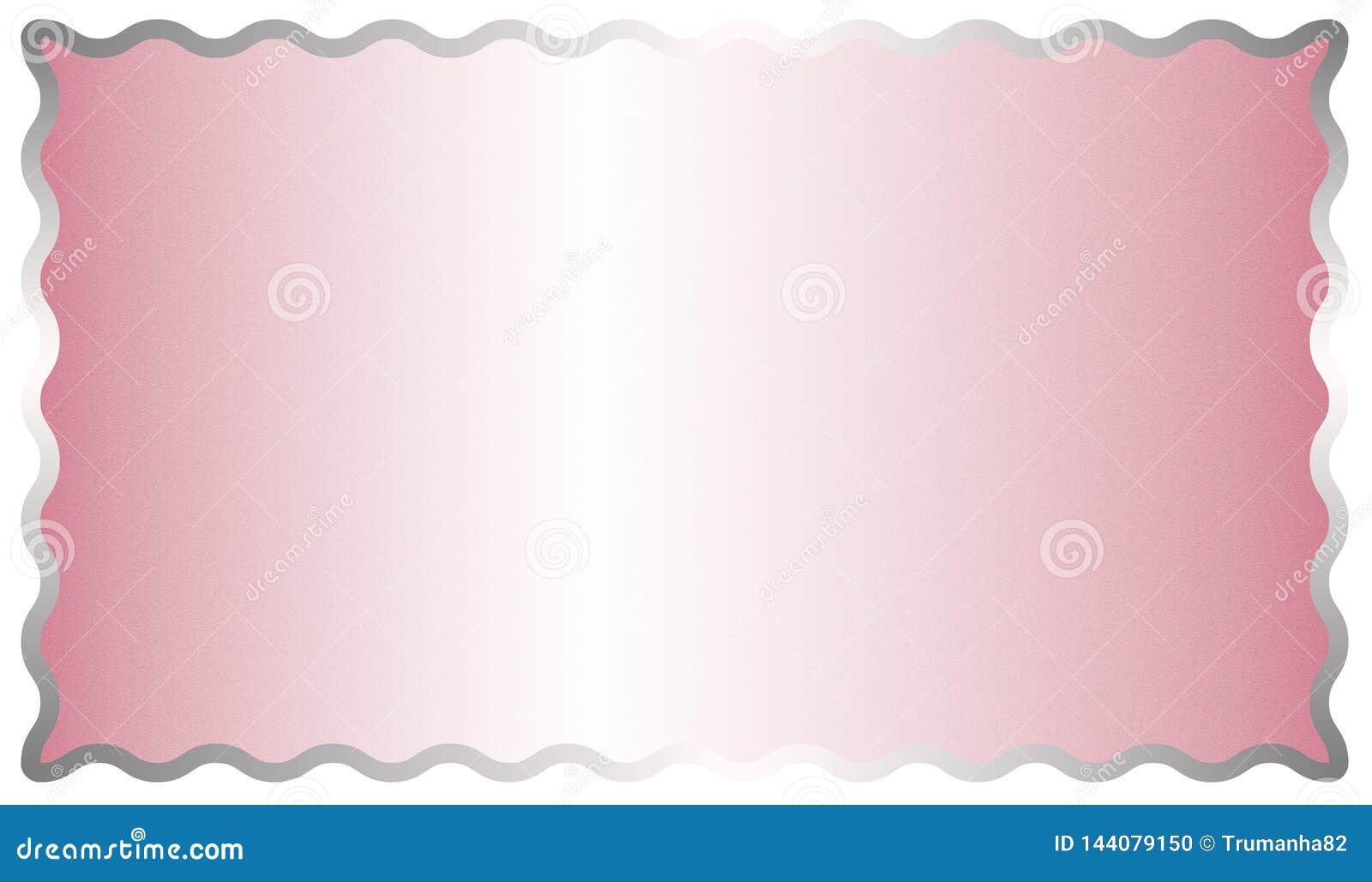 Fondo cepillado rosado brillante de la superficie de metal del extracto con un marco de plata