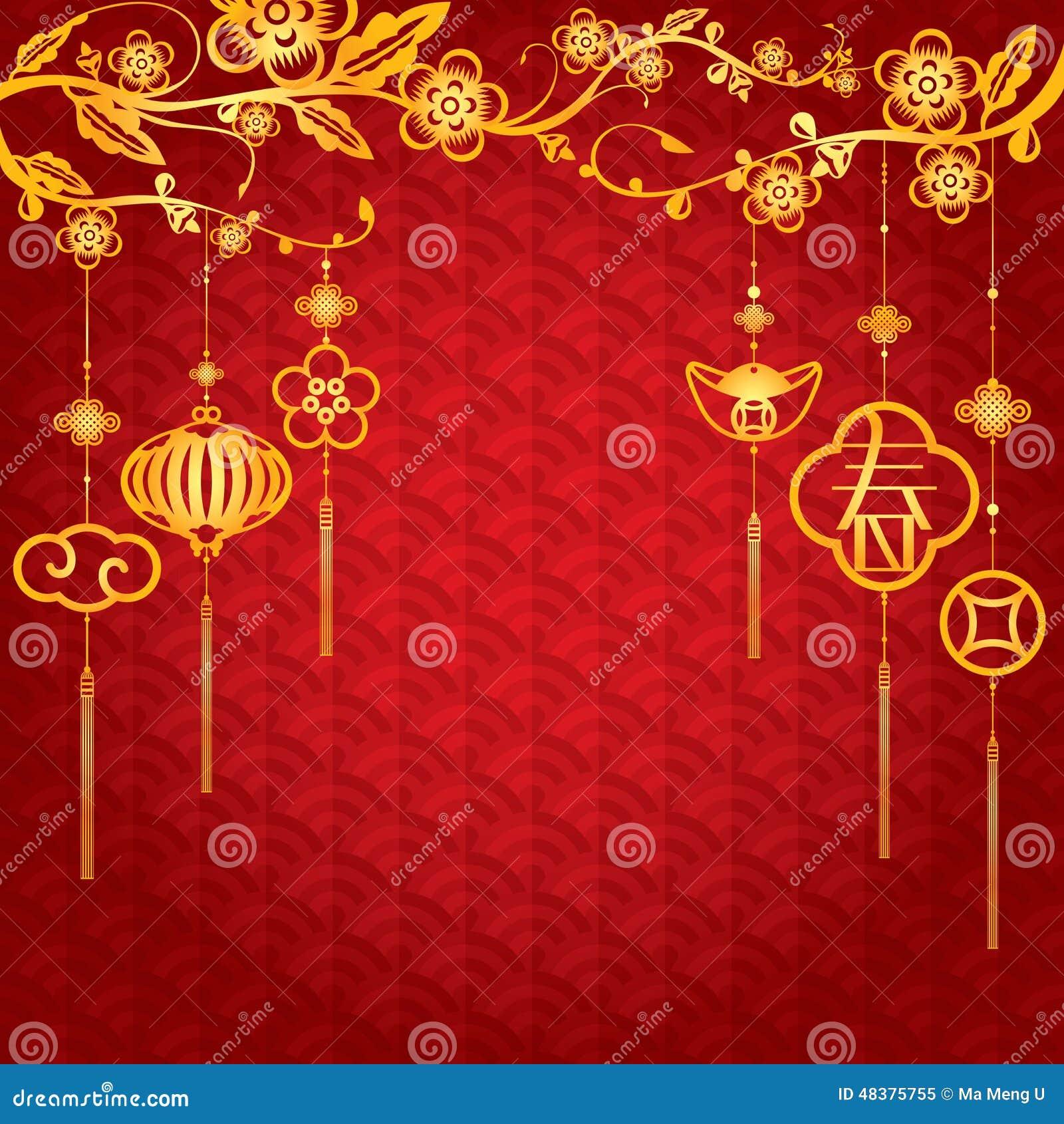 Fondo chino del Año Nuevo con la decoración de oro